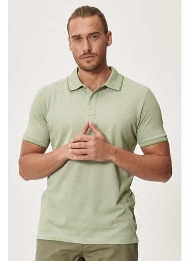 Altınyıldız Classics Düğmeli Polo Yaka Cepsiz Slim Fit Dar Kesim Düz Tişört 4A4820200047 Yeşil